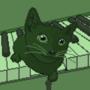 Green Cat in Piano