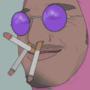 Pink guy smoke