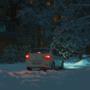 Car in a snowy yard