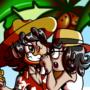 Kotaro and Kotako on the beach