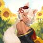 Shinobu Kitsune and Sunflower field