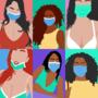 Girls wearing facemasks