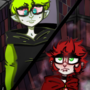 Intense stare Confused vamp And annoyed demon