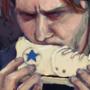 man eat shoe