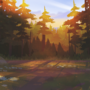Forest sunset study