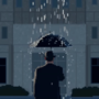 Lonely man in the rain