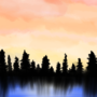 Sunset over Forest: Digital In-Class Doodle