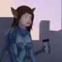 Cyborg catgirl at the morning