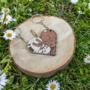 Cat and rabbit heart keychain