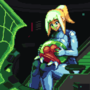 A drawing of Samus with her baby metroid
