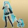 Hatsune Miku and Hachune Miku by bocodamondo