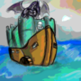 Dragon on a pirate castle ship