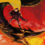 SIR SHREDLORD performing a SICKASS SOLO whilst riding the PRISMATIC DRAGON through the CRIMSON SKIES