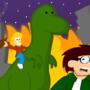 Man riding atop a dinosaur
