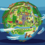 A pixel globe of Stardew Valley