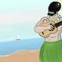 Black Mask playing the ukulele