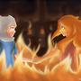Finn and Flame Princess Fanart by circlebox