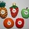 Five Fruitclock Fridge Magnets