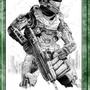 Halo fan art in ballpoint by bonkey666