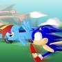 Sonic, Rainbow Dash, and Bitey