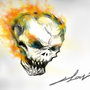 a generic flaming skull by clowdark