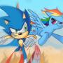 Sonic and RainbowDash by StevRayBro