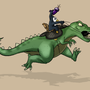Penguin Rides Dino by Mabelma
