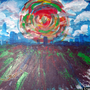 abstract skyline - acrylic pai