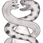 Two Snakes Fighting over a Din