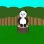 Cute Baby Panda on a Stump