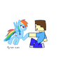 Rainbow Dash and Steve by ShadowNinjaIke