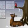Winter Doe - Animal Calendar by ithoughtiwascrazy
