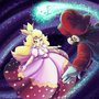 Mario and peach in space by Evanatt