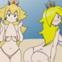 peach and rosalina in la beach by lamgelus