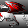 White and red serpentine drago by BloodFox14