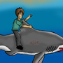 Me riding a shark by Alecg27