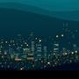 Modern city at dawn
