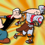 Popeye punching Kratos by comradebodko