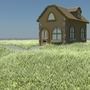 3D Modelling: House and Grass by Batteredburrito