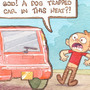 Dog trapped in the car. by ToonHole