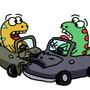 What do you call it when a dinosaur crashes their car?
