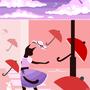 ville de parapluies rouges