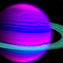 Blue and Pink Planet with Green Rings by KewinLan
