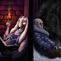 Goat lady telling jokes to a skeleton by Kirienitram