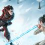 Kylo Ren vs. Rey by Kakiusko