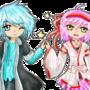 Shiro and Akari - pixel dolls kinda by Akari19