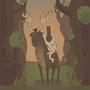 Cowboy Dog Surveys The Forest by Wolfenheim