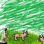 Radioactive zombie bunnies listning to hip hop with a green sky while John Cena is just rocking in t by Lane07689