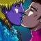 Space boyfriend's cute kiss.