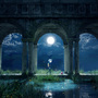 The Moon and Fireflies by ErrorCell